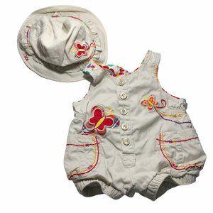 The Children's Place Jumper Sunsuit & Hat 3-6 Mos